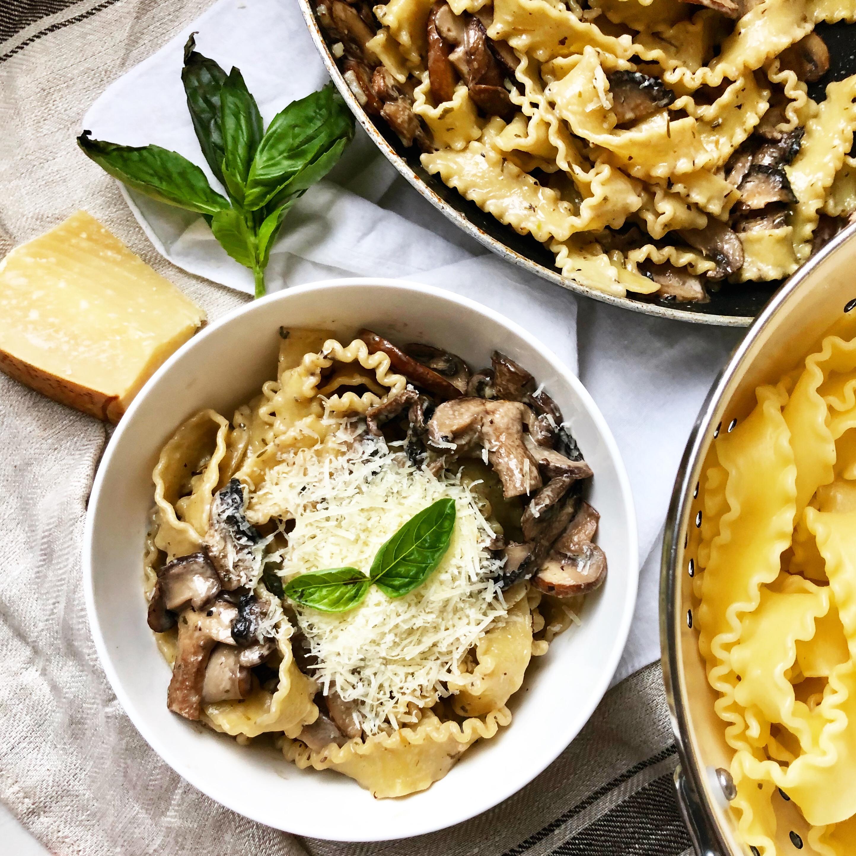 Mafaldine Pasta in Creamy Mushroom Sauce